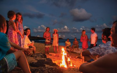 Beach campfire with large group