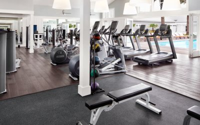Fitness center with treadmills