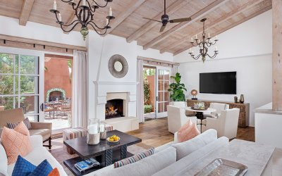 Living room with fireplace patio door open
