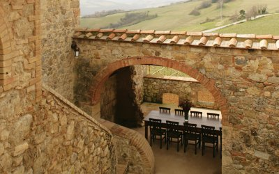 casale escaiole view with outdoor dining table