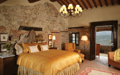 Master bedroom with gold trim
