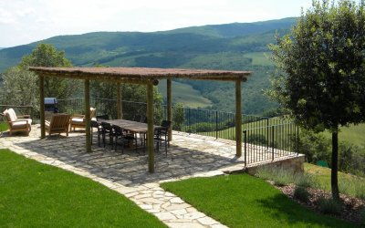 Pergola with outdoor dining and view