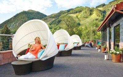 Rooftop with convertible covered lounge chairs