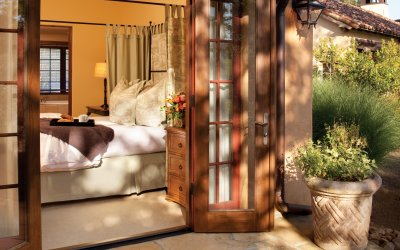Patio doors opened to reveal casita bedroom