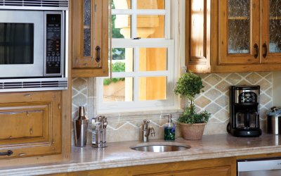 Casita kitchen with window over sink