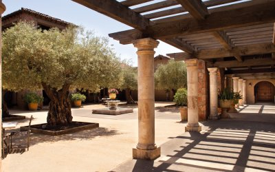 Courtyard with columns exposed
