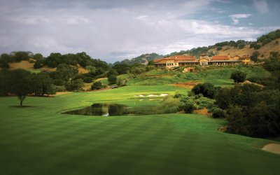 Mayacama golf course with clubhouse in the background