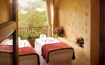 massage tables with opened patio window