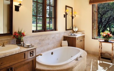 Villa bath tub with large windows