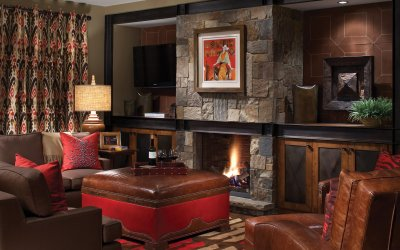 Residence living room with fireplace