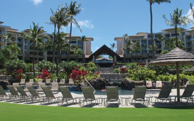 Lounge chairs and resort exterior