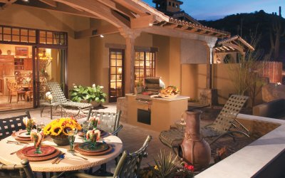 Outdoor terraces with bbq, dining table and lounge chair
