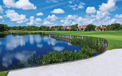 Golf course pond with homes visible in the background