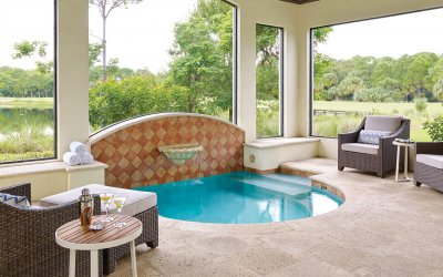 Residence patio with hot tub and outdoor seating